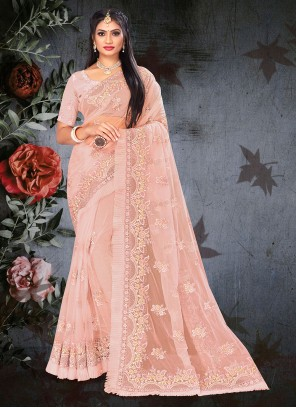 Peach Embroidered Mehndi Designer Saree