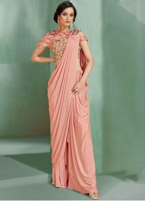 Peach Mehndi Lycra Trendy Saree