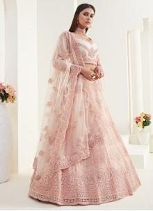 Peach Net Bridal Designer Lehenga Choli