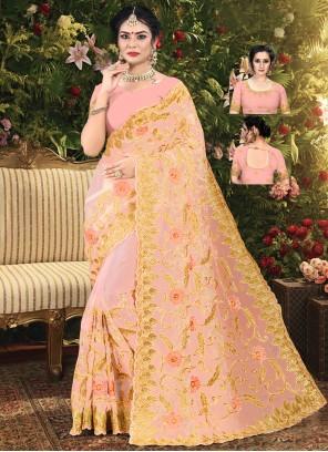 Peach Net Embroidered Classic Designer Saree