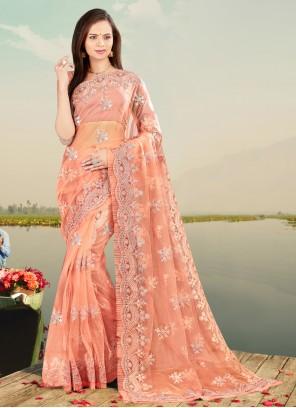 Peach Embroidered Net Designer Saree