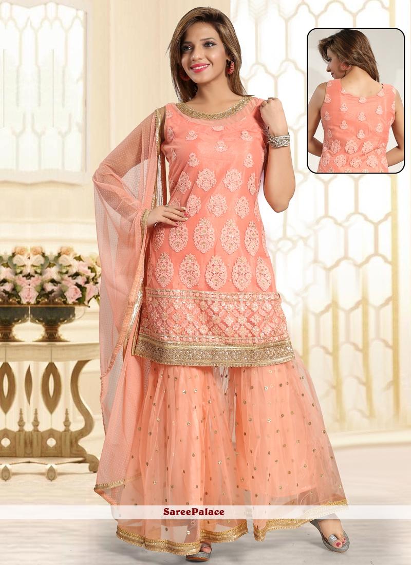 c02ba140d0 Buy Peach Net Mehndi Punjabi Suit Online