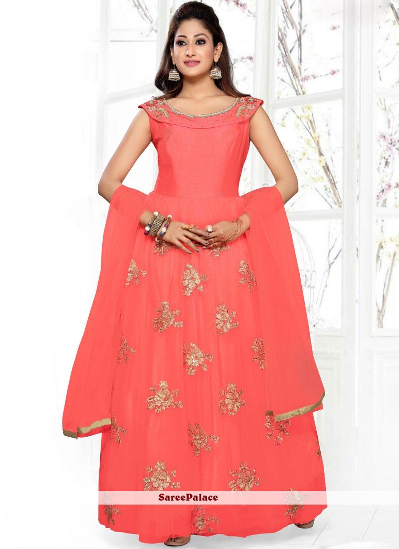 Peach Net Readymade Anarkali Suit