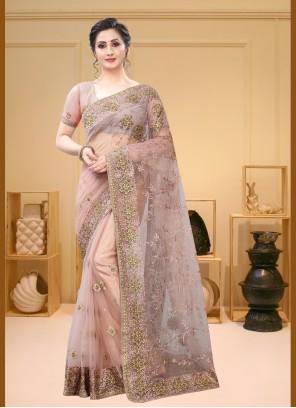 Peach Net Resham Classic Saree