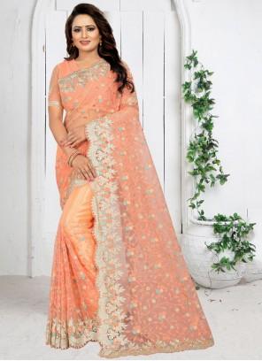 Peach Net Traditional Saree
