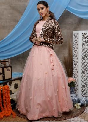 Peach Net Wedding Bollywood Lehenga Choli
