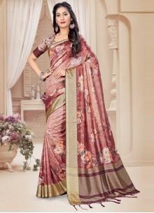 Peach Floral Printed Art Silk Classic Saree