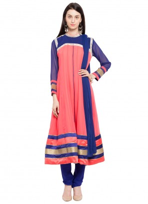 Peach Party Faux Georgette Readymade Anarkali Salwar Suit