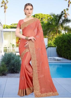 Peach Patch Border Faux Chiffon Classic Designer Saree