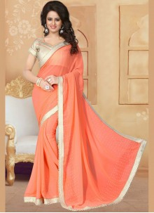 Peach Patch Border Work Classic Saree