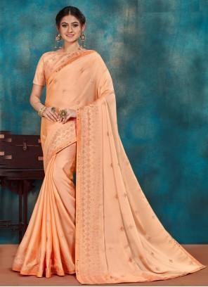 Peach Poly Silk Ceremonial Traditional Designer Saree
