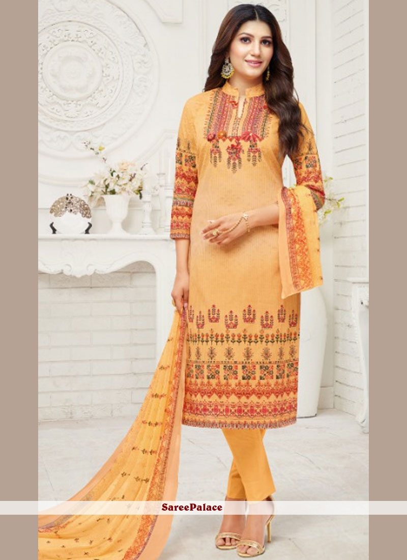 Peach Print Churidar Suit