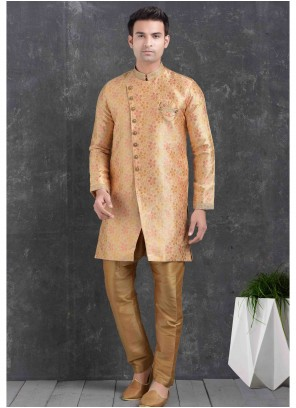 Peach Print Jacquard Silk Indo Western