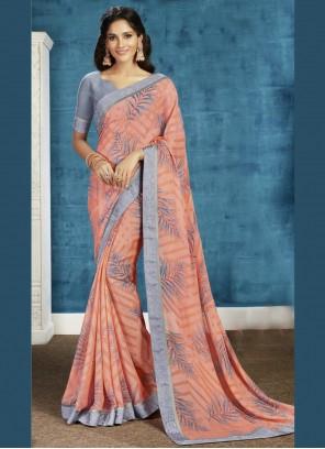 Peach Printed Contemporary Saree