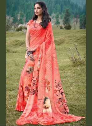 Peach Printed Georgette Bollywood Saree
