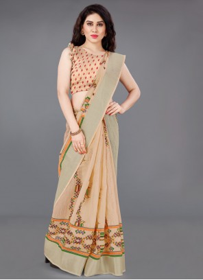 Peach Cotton Printed Saree For Casual