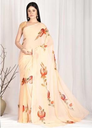 Peach Printed Printed Saree
