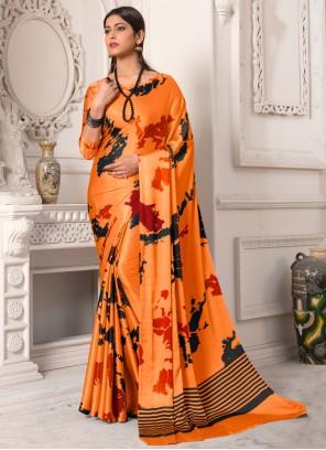 Peach Printed Silk Contemporary Saree