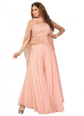 Peach Fancy Work Georgette Readymade Suit