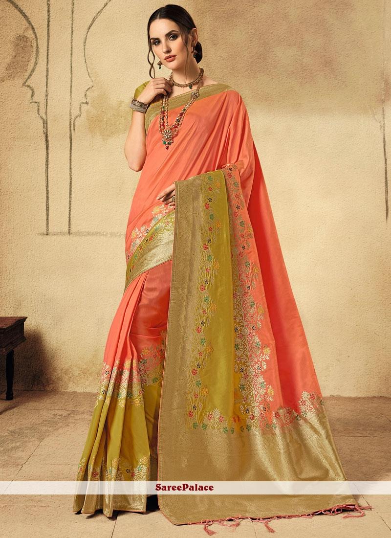 Peach Reception Jacquard Silk Classic Designer Saree