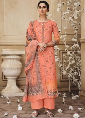 Peach Resham Bollywood Salwar Kameez