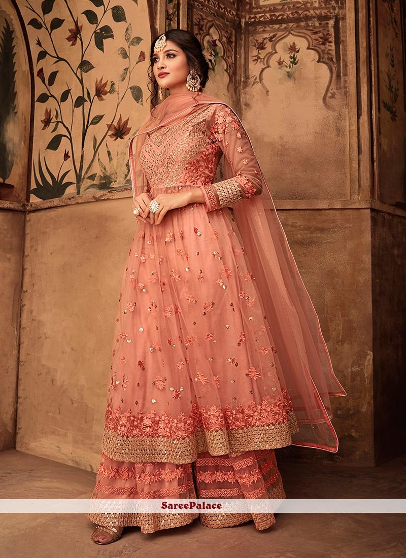 b71db13dcb Buy Peach Resham Designer Pakistani Suit Online