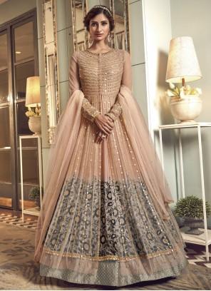 Peach Resham Engagement Floor Length Anarkali Suit