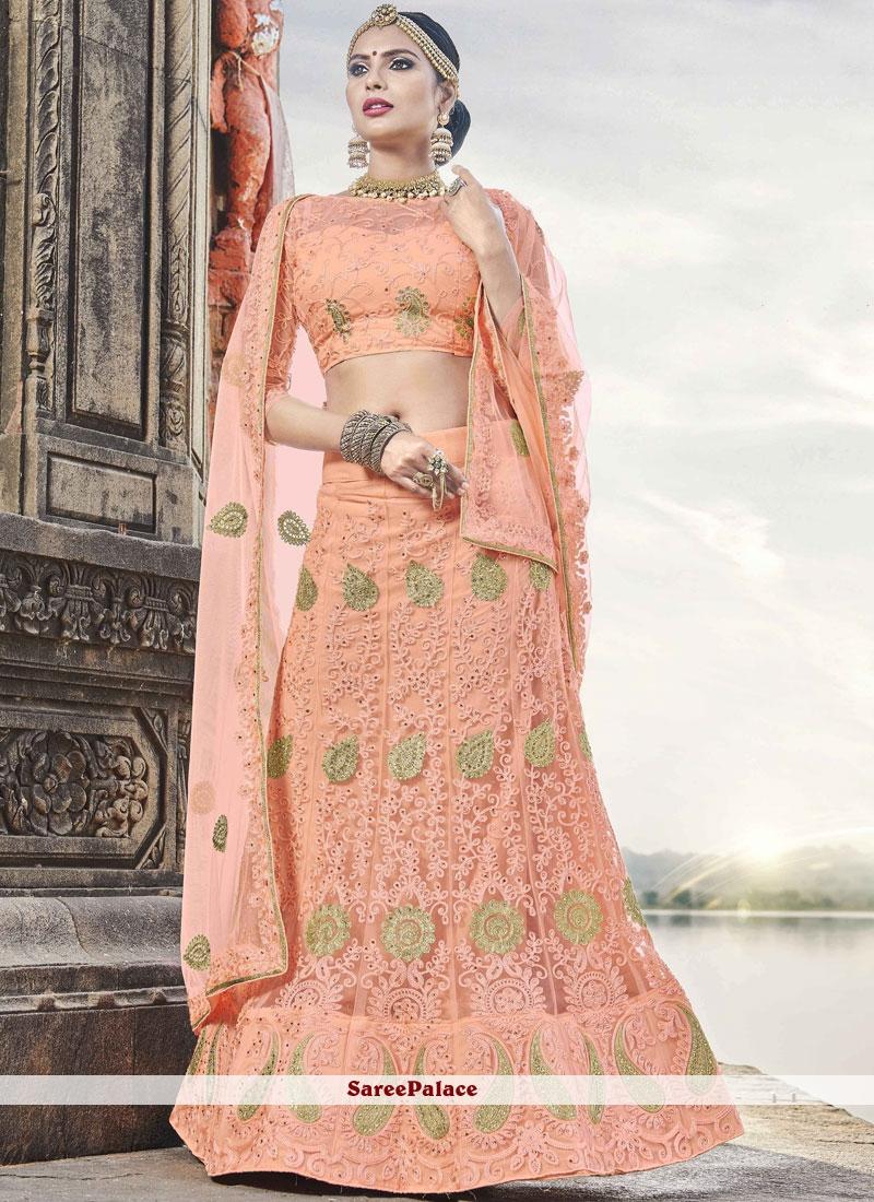 6246c0605f Buy Peach Resham Mehndi Lehenga Choli Online