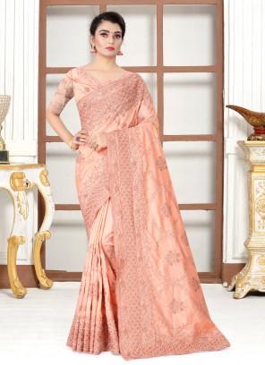 Peach Resham Silk Designer Traditional Saree