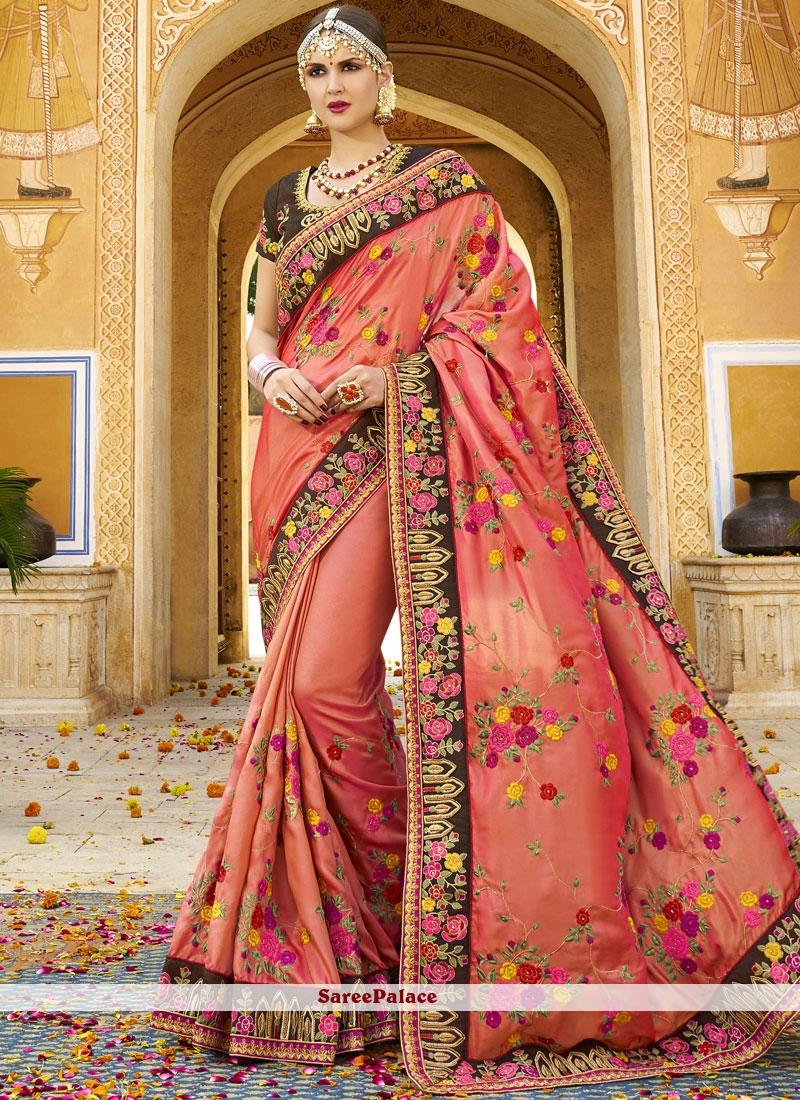 Peach Resham Traditional Designer Saree