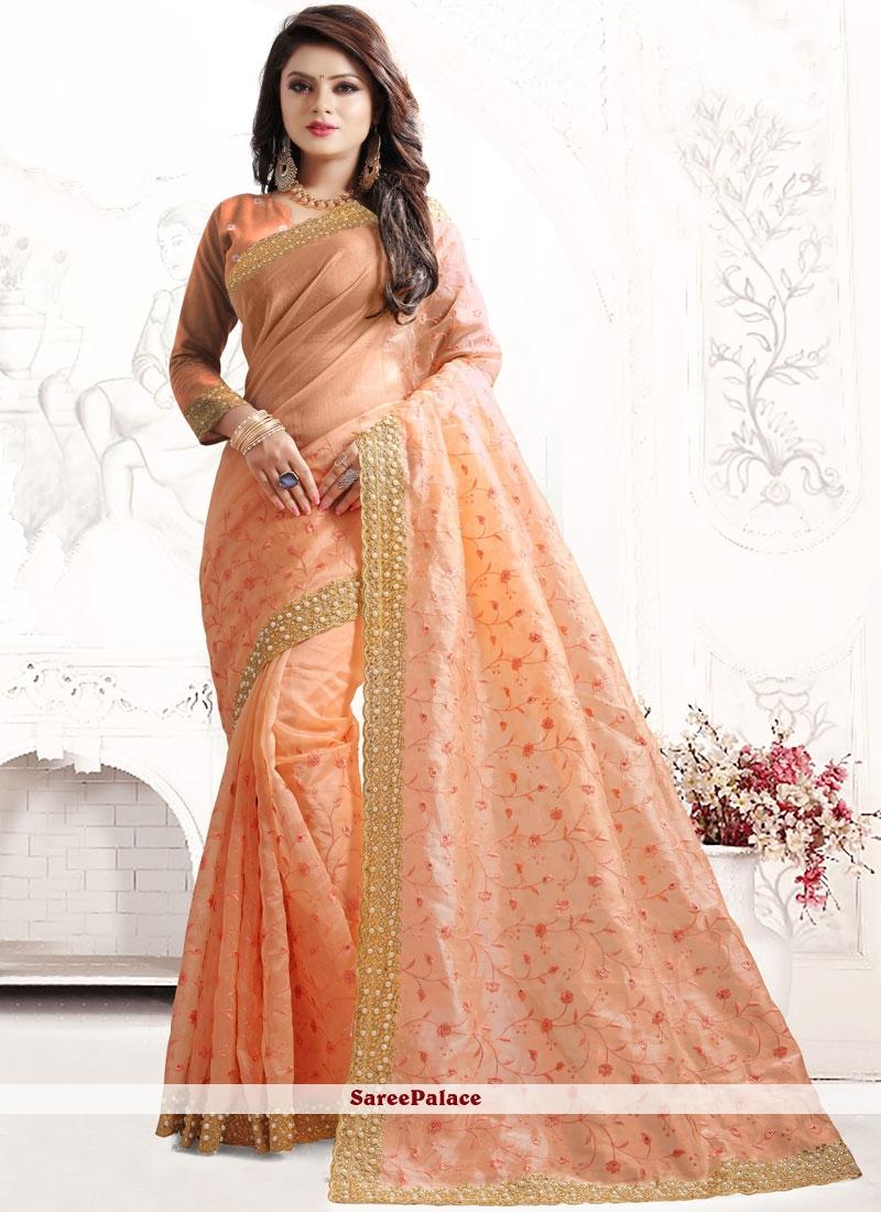 Peach Resham Work Art Silk Traditional Designer Saree
