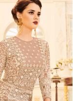 Peach Resham Work Faux Georgette Floor Length Anarkali Suit