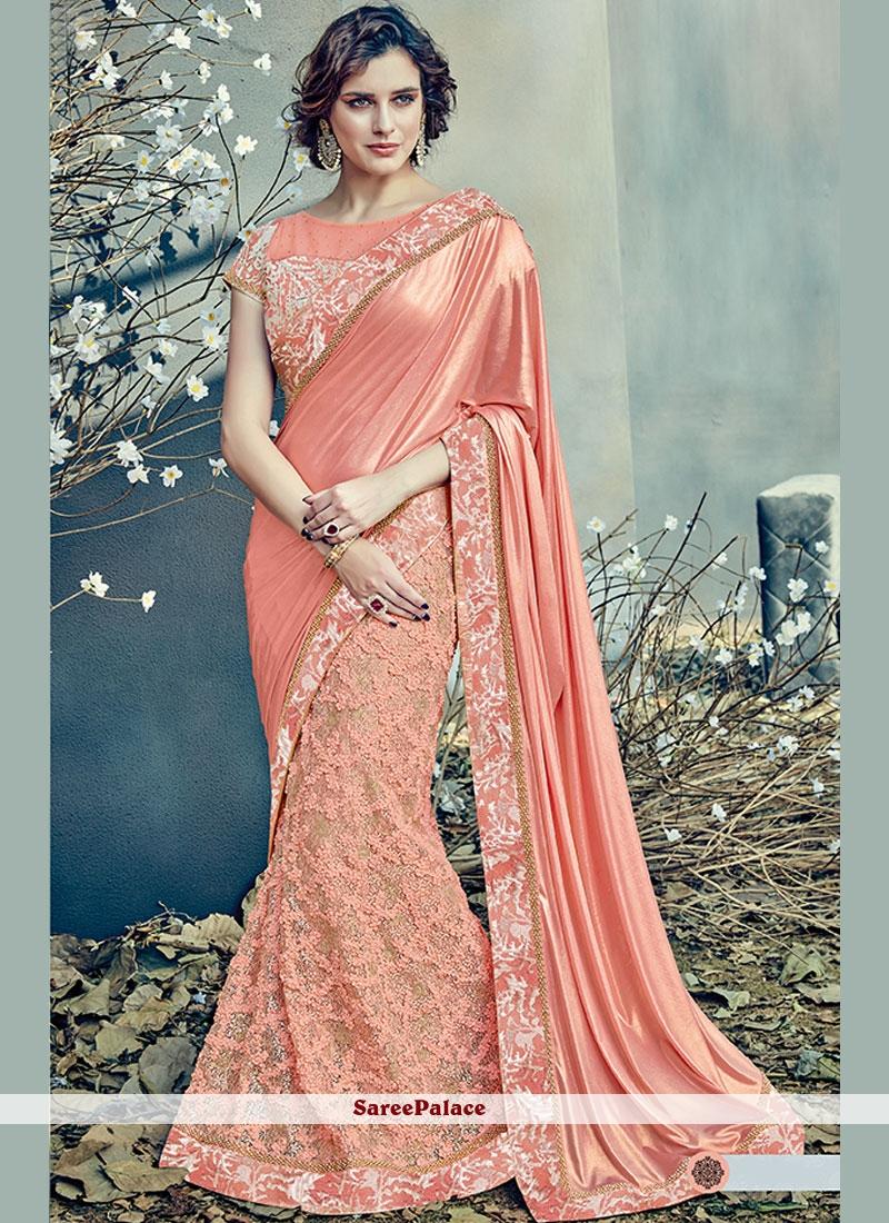 bcba334047 Buy Peach Resham Work Net Lehenga Saree Online