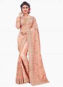 Peach Sangeet Designer Saree