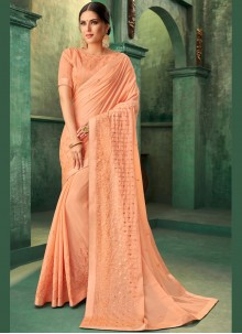 Peach Sangeet Traditional Designer Saree