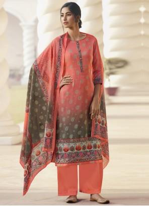 Peach Satin Designer Palazzo Suit