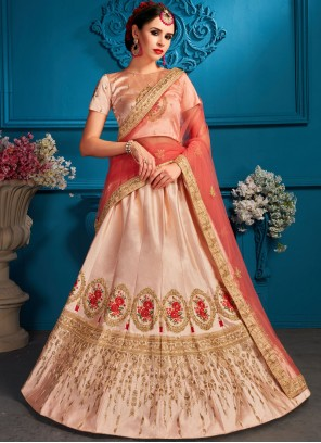 Peach Satin Lehenga Choli