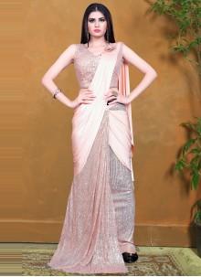 Peach Sequins Designer Saree