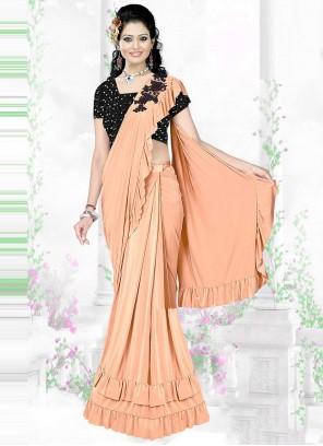 Peach Sequins Trendy Saree