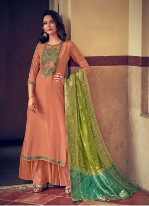 Peach Silk Designer Palazzo Suit