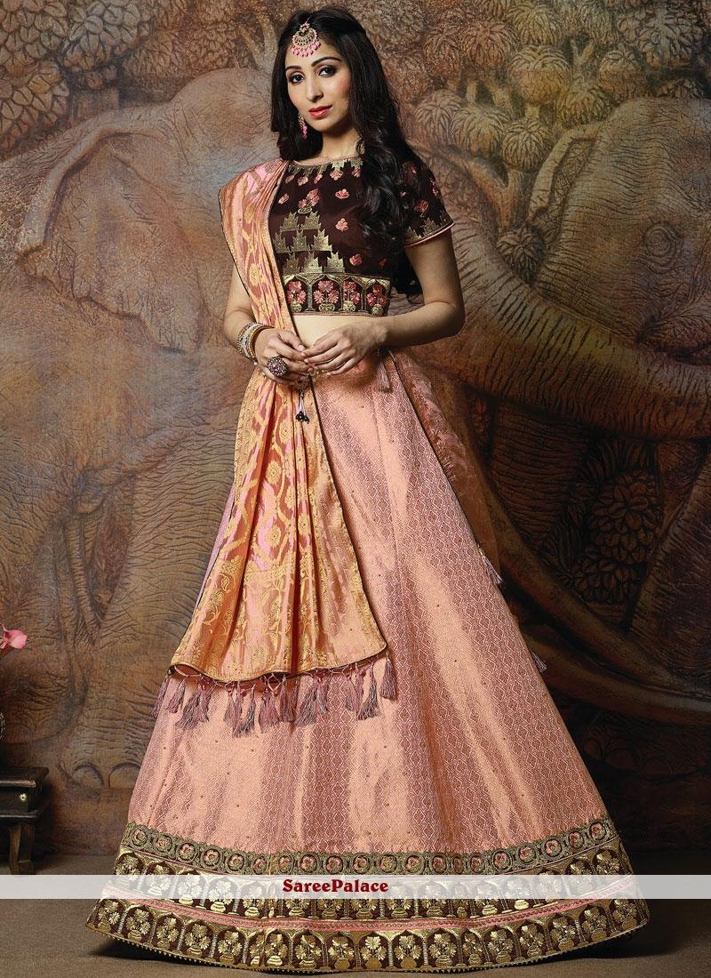 837580e8b6 Buy Peach Silk Embroidered Designer Lehenga Choli Online