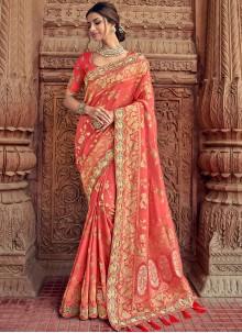Peach Silk Resham Classic Saree