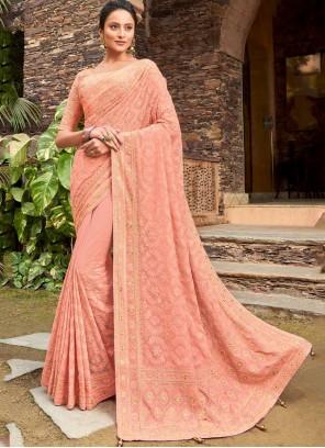 Peach Viscose Party Designer Bollywood Saree