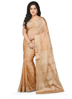 Peach Weaving Art Banarasi Silk Designer Traditional Saree