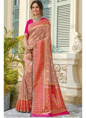 Peach Weaving Art Silk Classic Saree