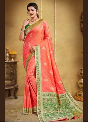 Peach Weaving Banarasi Silk Traditional Designer Saree