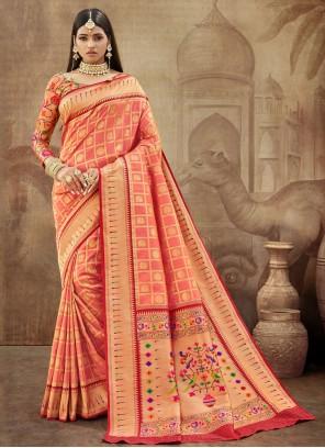 Peach Weaving Engagement Classic Designer Saree