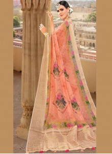 Peach Weaving Fancy Fabric Traditional Saree