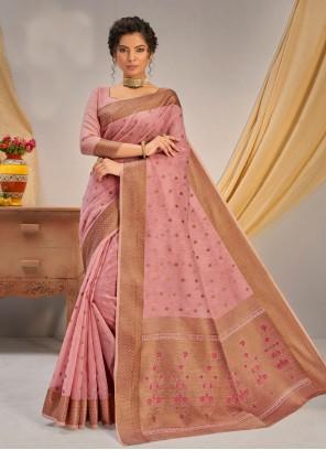 Peach Weaving Jacquard Traditional Designer Saree