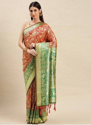 Peach Weaving Mehndi Traditional Designer Saree